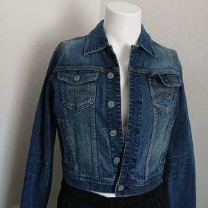"Womens denim jacket L chest 40"" lenght 18"" preowne"